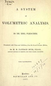 Cover of: A system of volumetric analysis