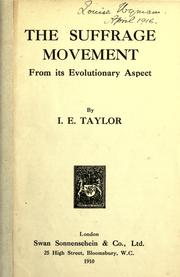 Cover of: The suffrage movement from its evolutionary aspect