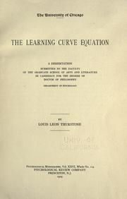 Cover of: The learning curve equation ..