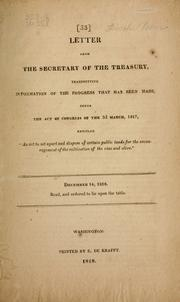Letter from the Secretary of the Treasury by United States. Dept. of the Treasury.
