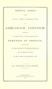 Cover of: Memorial address on the life and character of Abraham Lincoln