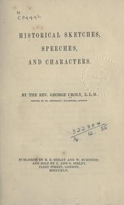 Cover of: Historical Sketches, Speeches, & Characters