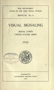 Cover of: Visual signaling | United States. Army. Signal Corps.