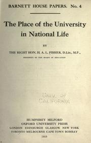 Cover of: The place of the university in national life