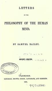 Cover of: Letters on the philosophy of the human mind: first series