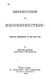 Cover of: Destruction and reconstruction