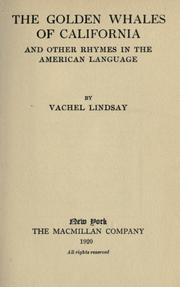 Cover of: The Golden Whales of California and Other Rhymes in the American Language