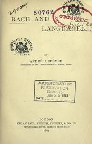Cover of: Race and language