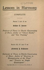 Cover of: Lessons in harmony