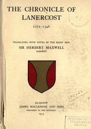 Cover of: The Chronicle of Lanercost, 1272-1346 | by Sir Herbert Maxwell.