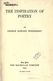 Cover of: The inspiration of poetry