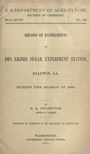Cover of: Record of experiments at Des Lignes sugar experiment station, Baldwin, La