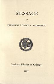 Cover of: Message of president Robert R. McCormick