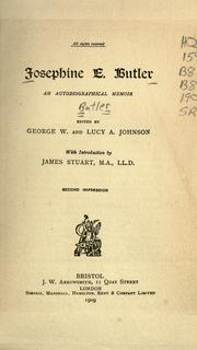 Cover of: Josephine E. Butler