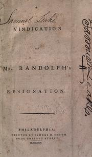 Cover of: Vindication of Mr. Randolph's resignation