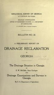 Cover of: A preliminary report on drainage reclamation in Georgia