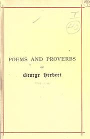 Cover of: English poems, together with his collection of proverbs entitled Jacula prudentum