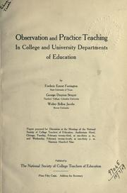 Cover of: Observation and practice teaching in college and university departments of education