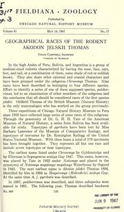 Cover of: Geographical races of the rodent Akodon jelskii Thomas
