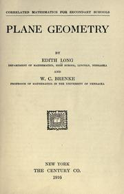 Cover of: Plane geometry | Long, Edith.