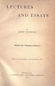 Cover of: Lectures and essays