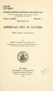 Cover of: American men of letters, their nature and nurture