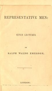 Cover of: Representative men: seven lectures