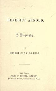 Cover of: Benedict Arnold: a biography