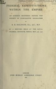 Cover of: Federal constitutions within the Empire