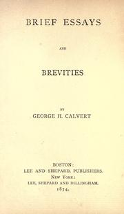 Cover of: Brief essays and brevities