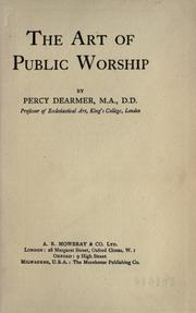 Cover of: The art of public worship