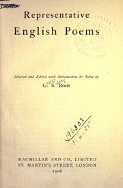 Cover of: Representative English poems