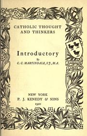 Catholic thought and thinkers by C. C. Martindale