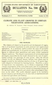 Cover of: Climate and plant growth in certain vegetative associations