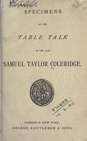 Cover of: Specimens of the Table Talk