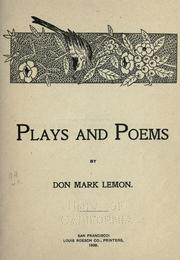 Cover of: Plays and poems