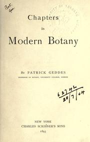 Cover of: Chapters in modern botany