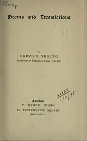 Cover of: Poems and translations | Edward Thring