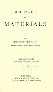 Cover of: Mechanics of materials