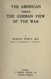 Cover of: The American versus the German view of the war