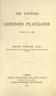 Cover of: The journal of a London playgoer from 1851-1866