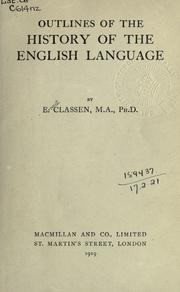 Cover of: Outlines of the history of the English language