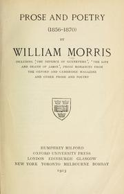 Prose and poetry (1856-1870) by William Morris