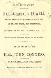 Cover of: Speech delivered by Major-General McDowell at Platt's Hall, San Francisco, on the evening of Friday, October 21st, 1864 ..