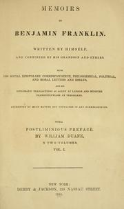 Cover of: Memoirs of Benjamin Franklin