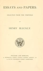 Cover of: Essays and papers: selected from the writings of Henry Bleckly