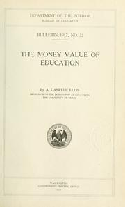 Cover of: The money value of education
