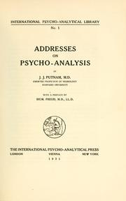 Cover of: Addresses on psycho-analysis