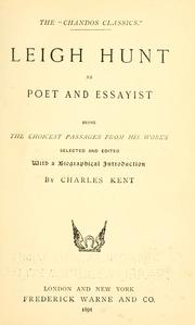Cover of: Leigh Hunt as poet and essayist