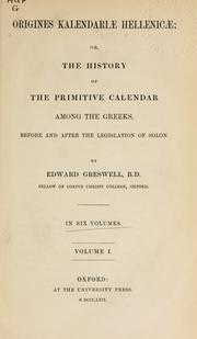 Cover of: Origines Kalendariae Hellenicae | Edward Greswell